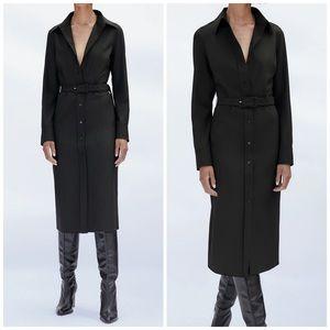 NEW Zara Belted Long Sleeve Button Up Shirt Dress